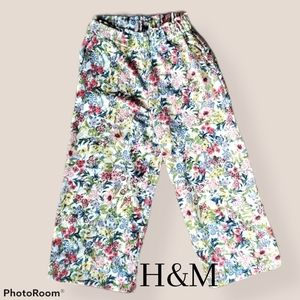H&M Spring Floral High Rise Wide Leg Flowy Pants